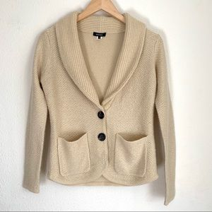 Kerisma oatmeal V neck button wool blend sweater